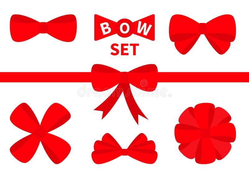 Grand ensemble rouge d'icône d'arc de Noël de ruban Élément de décoration pour le présent de giftbox Fond blanc D'isolement Conce illustration stock