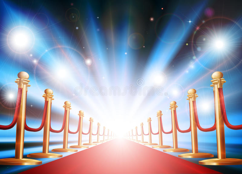 Grand entrance with red carpet and flash lights vector illustration