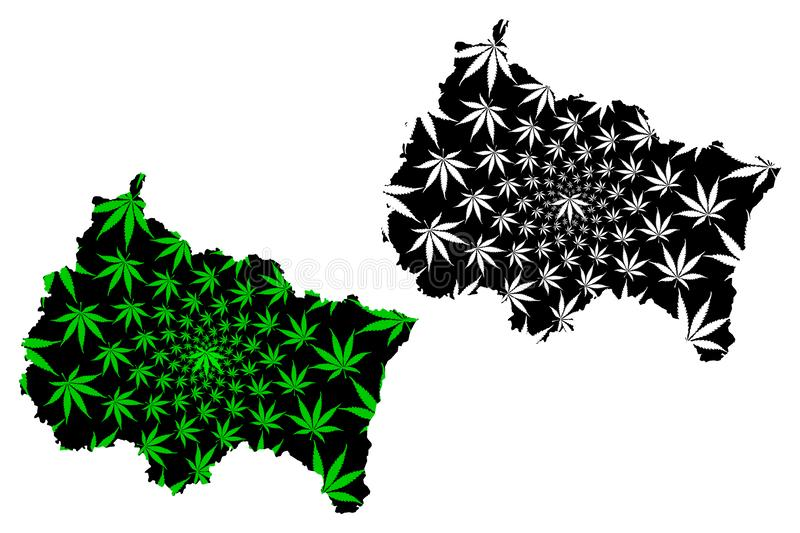 Grand Est France, administrative region map is designed cannabis leaf green and black, Alsace-Champagne-Ardenne-Lorraine ACAL. Or  ALCA map made of marijuana vector illustration