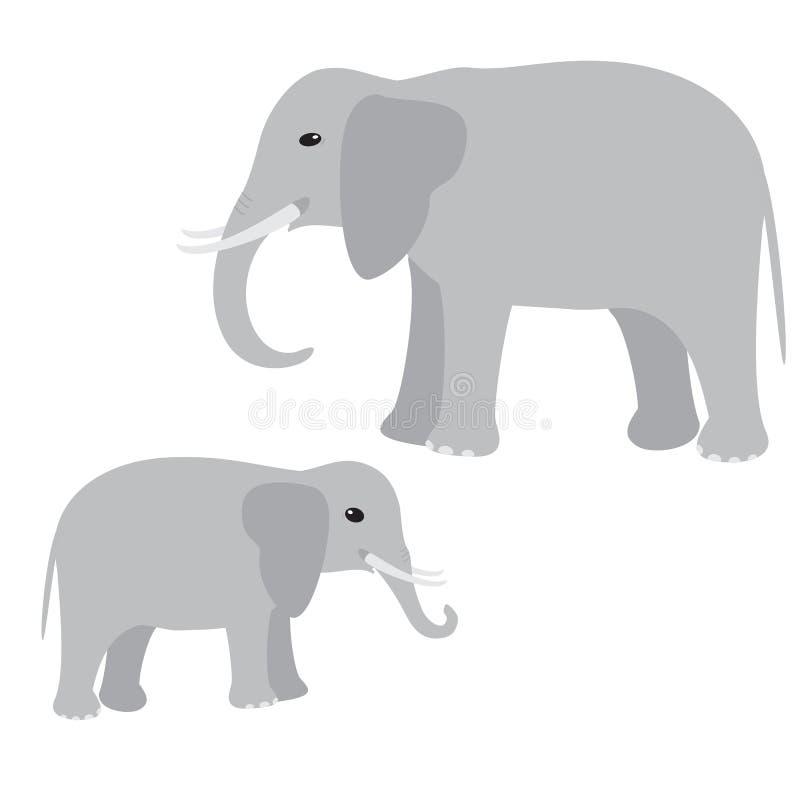 Grand et petit éléphant illustration de vecteur