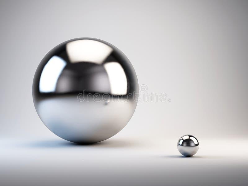 Grand et petit concept grandes et petites sphères illustration libre de droits