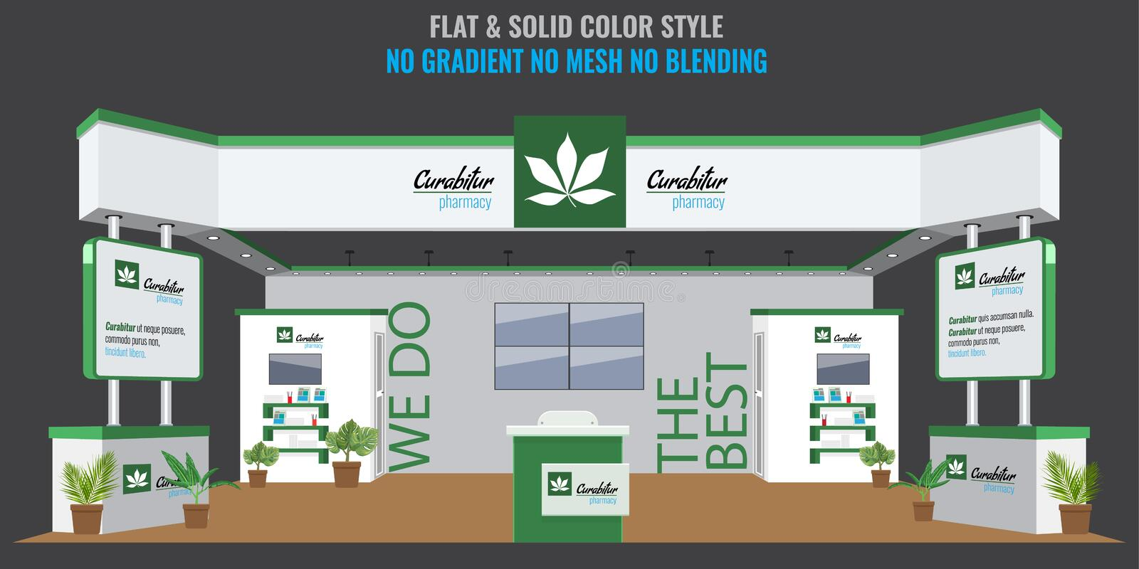 Grand Exhibition stand display mock up for pharmacy or medical company. Vector illustration. royalty free illustration