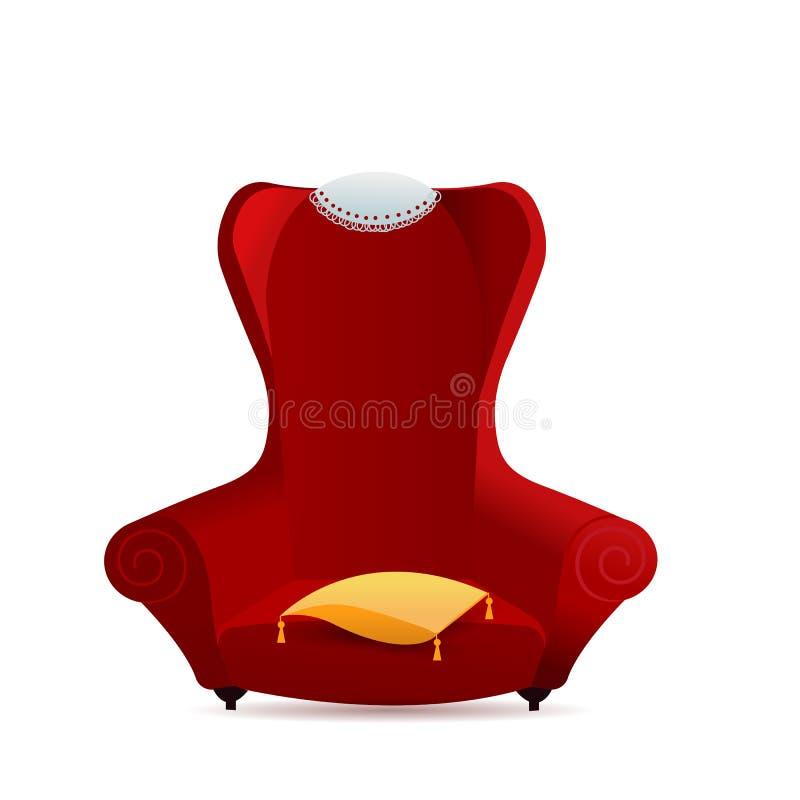 Grand fauteuil rouge de velours avec l'oreiller jaune Chaise molle de gradient confortable avec la serviette de dentelle sur le d illustration libre de droits