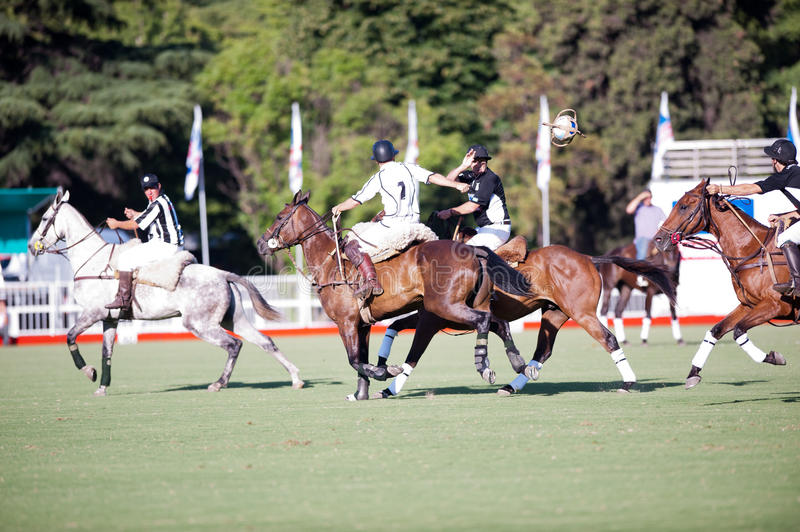 Grand Final of 70th Argentina Pato Open. Pato, also known as Horseball is Argentina national sport. La Guarida team (16 points) versus Los Mochitos (14). Dec stock images