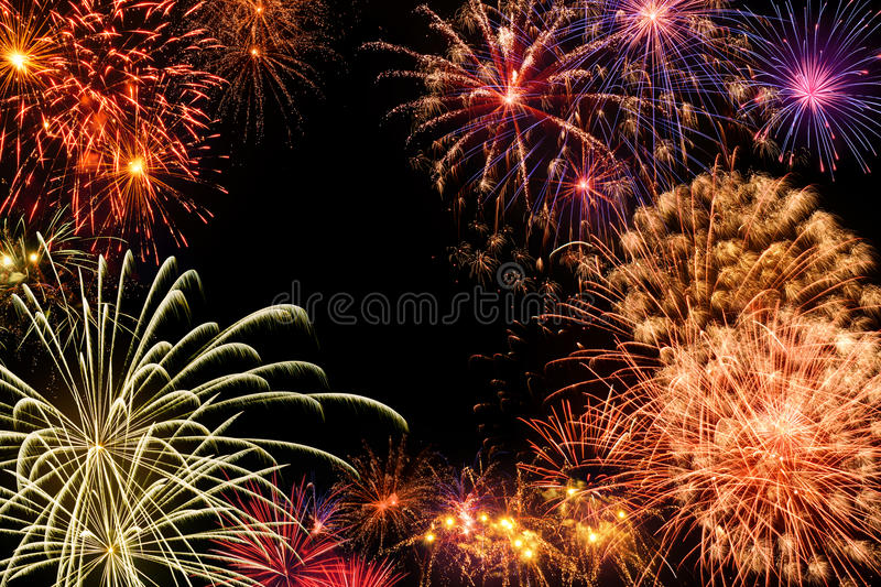 Grand fireworks display stock photography