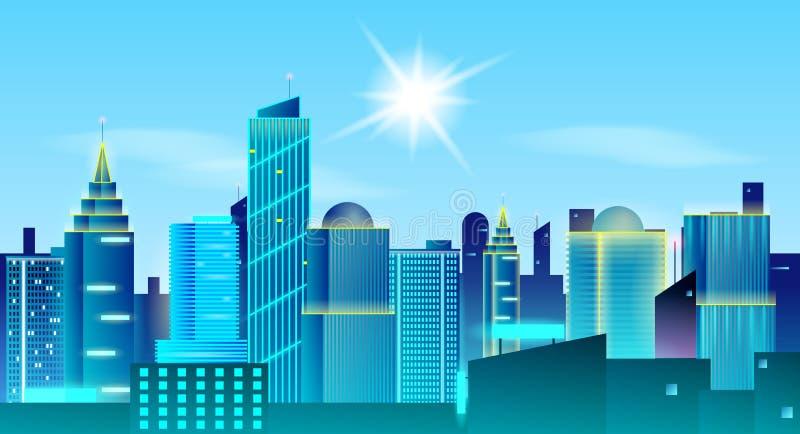 Grand fond de paysage de ville Jour ensoleillé dans la métropole Concept de construction d'immobiliers illustration de vecteur