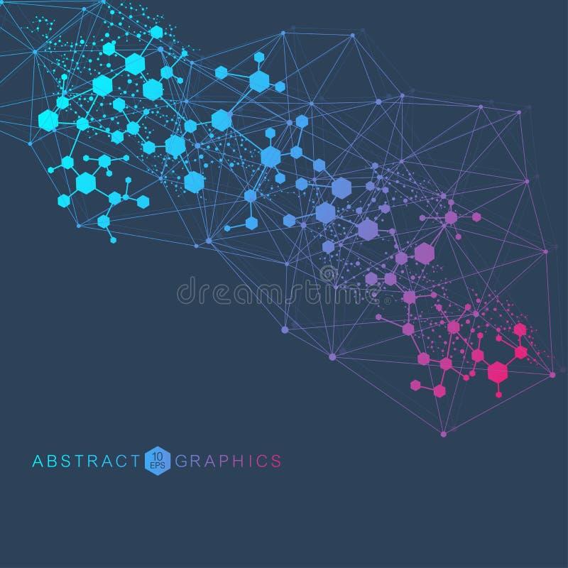 Grand fond de visualisation de données Fond abstrait virtuel futuriste moderne Modèle de réseau de la Science, se reliant illustration libre de droits