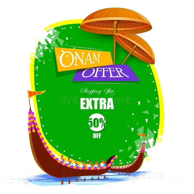 Grand fond heureux de publicité de vente d'achats d'Onam pour le festival de l'Inde du sud Kerala illustration libre de droits