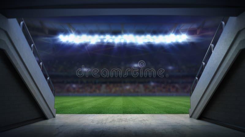 Entrance to illuminated football stadium full of fans. Football stadium sport theme digital 3D background advertisement illustration vector illustration