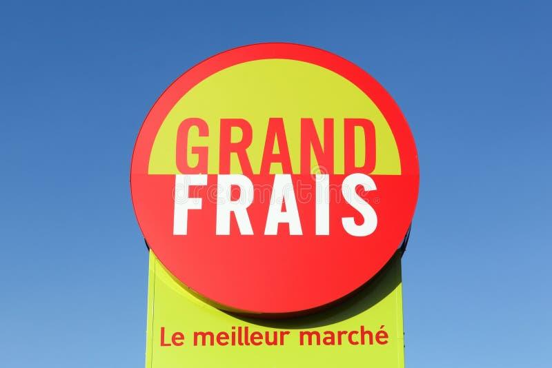 Grand Frais supermarket logo on a signboard royalty free stock image