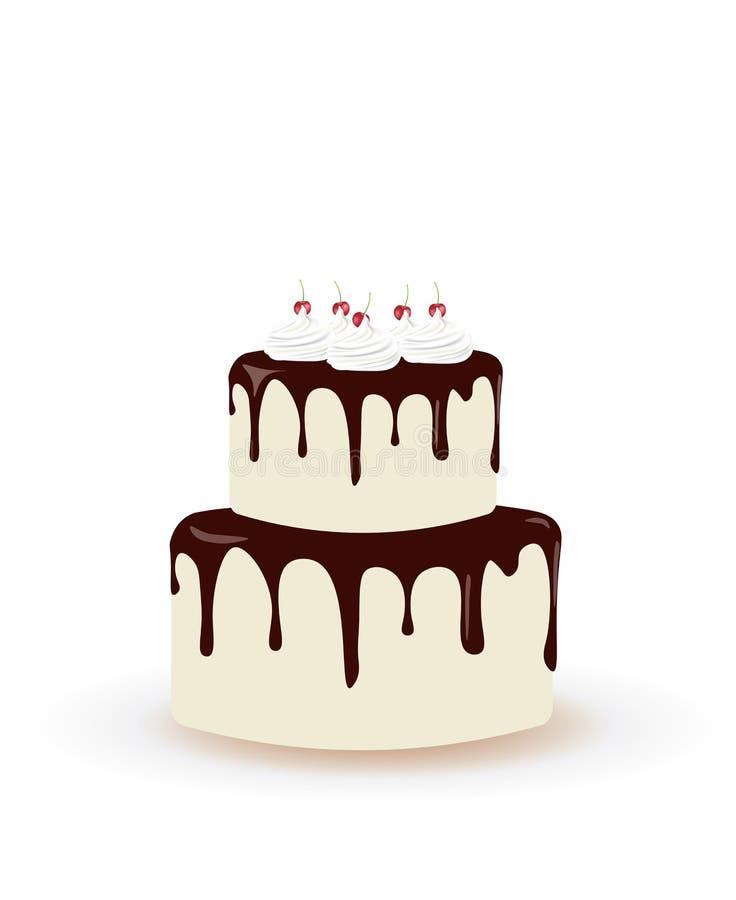 Grand gâteau d'anniversaire avec des cerises illustration stock