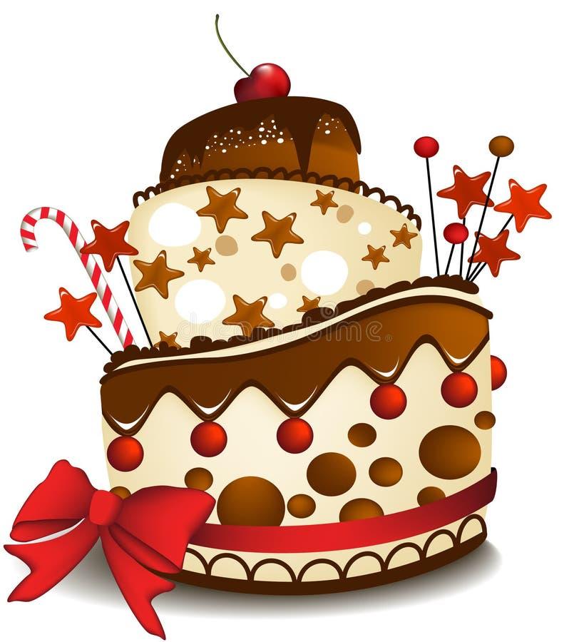 Grand gâteau de chocolat illustration stock