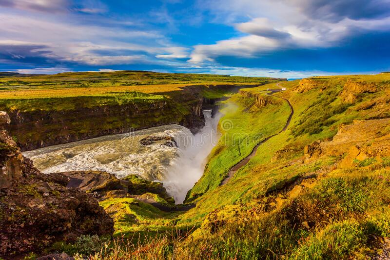 Grand Golden Waterfall royalty free stock photography