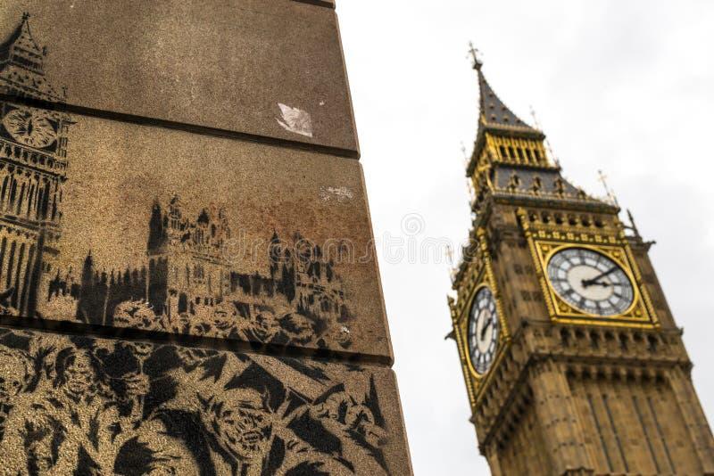 Grand graffiti de Ben Famous Landmark et de mur image libre de droits