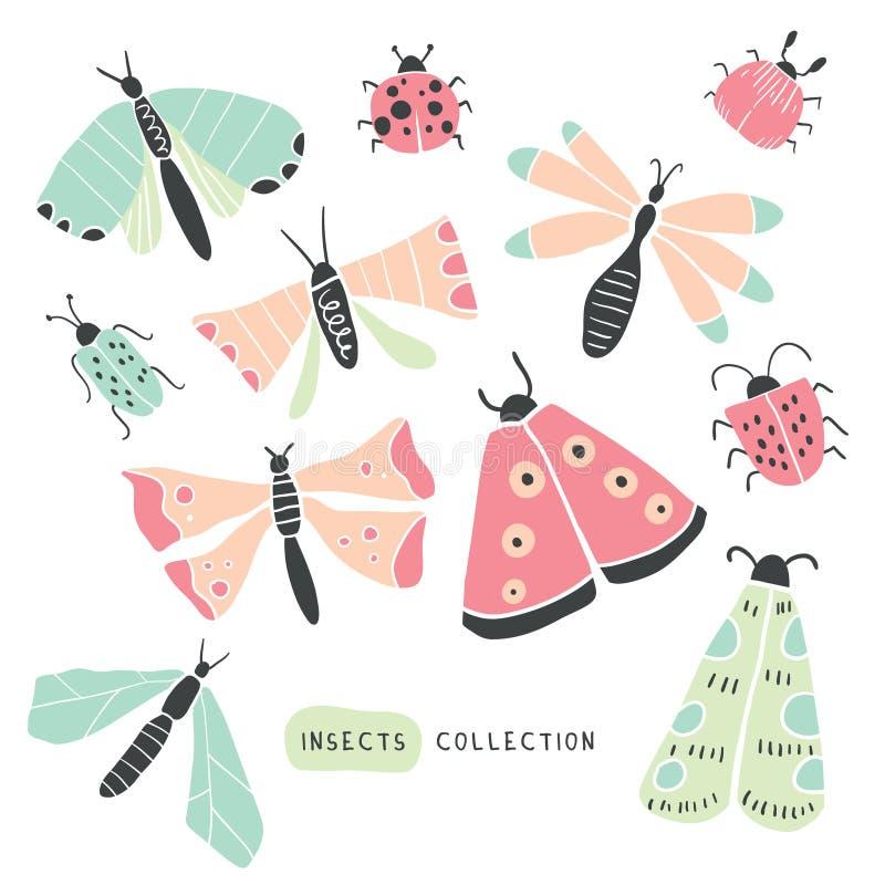 Grand griffonnage tiré par la main coloré réglé - insectes, insectes illustration libre de droits