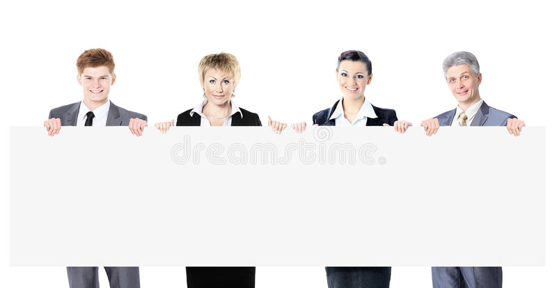 Grand groupe de jeune gens d'affaires de sourire Fond blanc image libre de droits