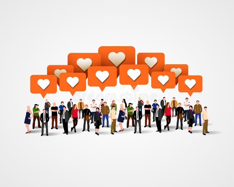 Grand groupe de personnes avec les signes similaires le concept a digitalement produit salut du social de recherche de réseau d'i illustration libre de droits