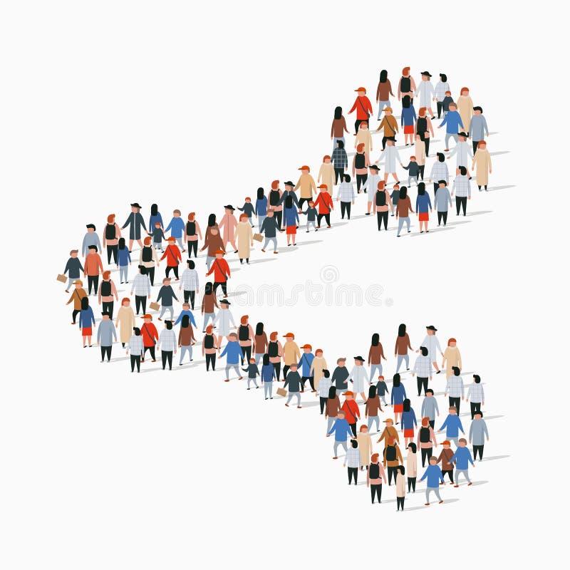 Grand groupe de personnes dans la forme de signe de part illustration stock