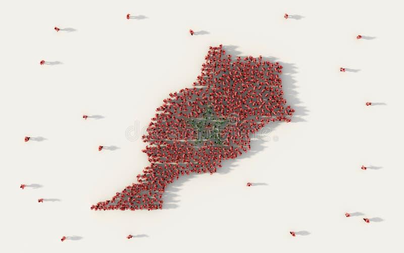 Grand groupe de personnes formant la carte du Maroc et le drapeau national dans le concept social de médias et de communauté sur  illustration stock