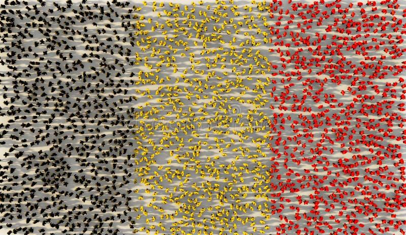 Grand groupe de personnes formant le drapeau national de la Belgique dans le concept social de médias et de communauté sur le fon illustration libre de droits