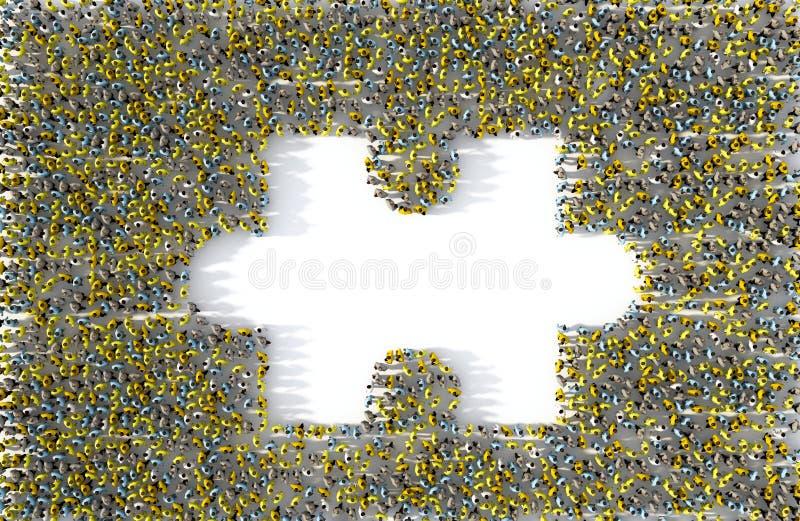 Grand groupe de personnes formant un morceau absent de puzzle denteux illustration de vecteur