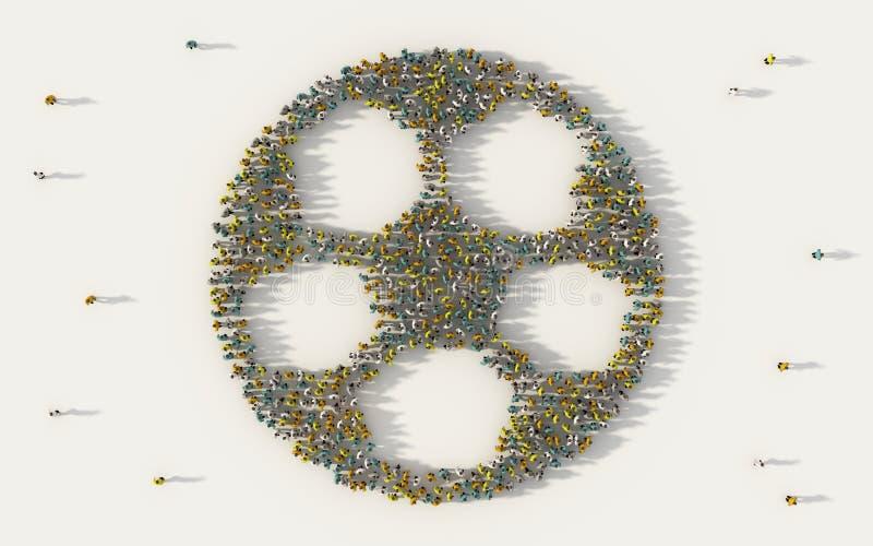 Grand groupe de personnes formant un symbole du football ou du football dans le concept social de médias et de communauté sur le  illustration libre de droits