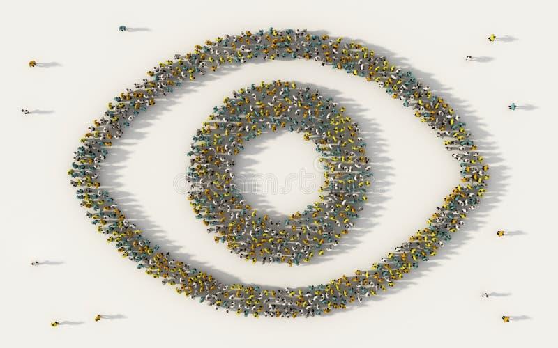 Grand groupe de personnes formant une icône d'oeil dans le concept social de médias et de communauté sur le fond blanc signe 3d d illustration stock
