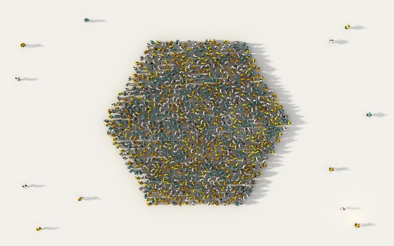 Grand groupe de personnes formant une icône de la géométrie d'hexagone dans le concept social de médias et de communauté sur le f illustration de vecteur