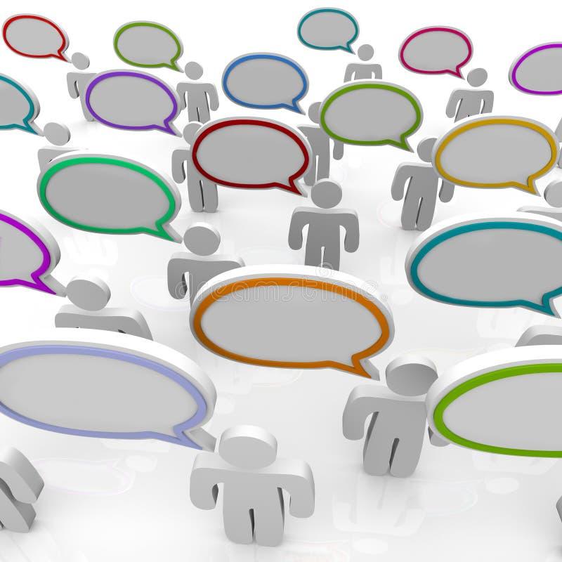 Grand groupe de personnes parlant - bulles de la parole illustration stock