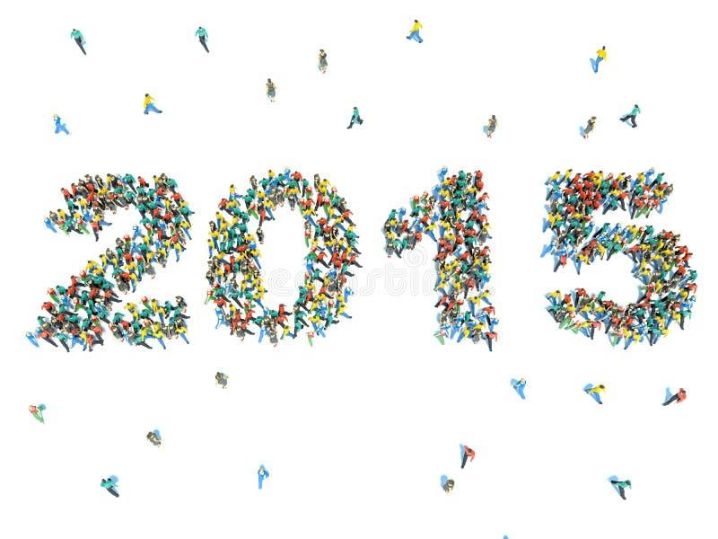 Grand groupe de personnes sous forme de 2015 illustration libre de droits