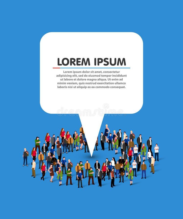 Grand groupe de personnes sous forme de cercle avec l'indicateur blanc de l'information illustration stock