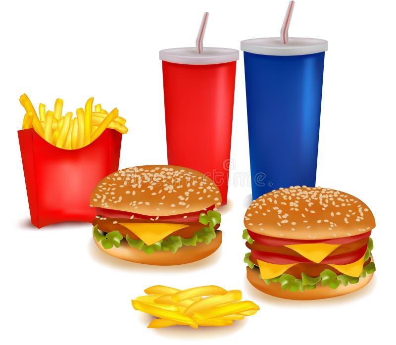 Grand groupe de produits d'aliments de préparation rapide. illustration de vecteur