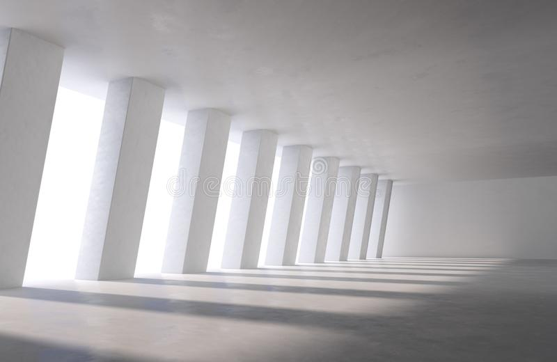 Grand hall industriel, stationnement de voiture ou immeuble de bureaux avec des ombres de lumière du jour sur le plancher illustration stock