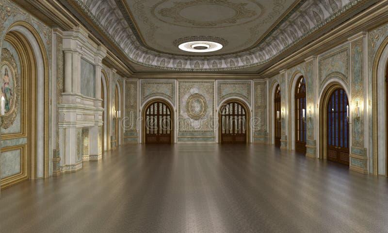 Grand Hall interior. 3d render of luxury grand hall interior royalty free illustration