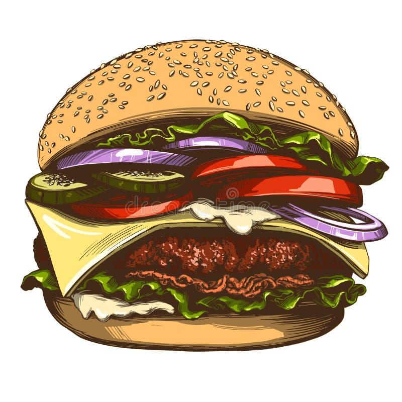 Grand hamburger, couleur réaliste de croquis d'illustration tirée par la main de vecteur d'hamburger illustration libre de droits