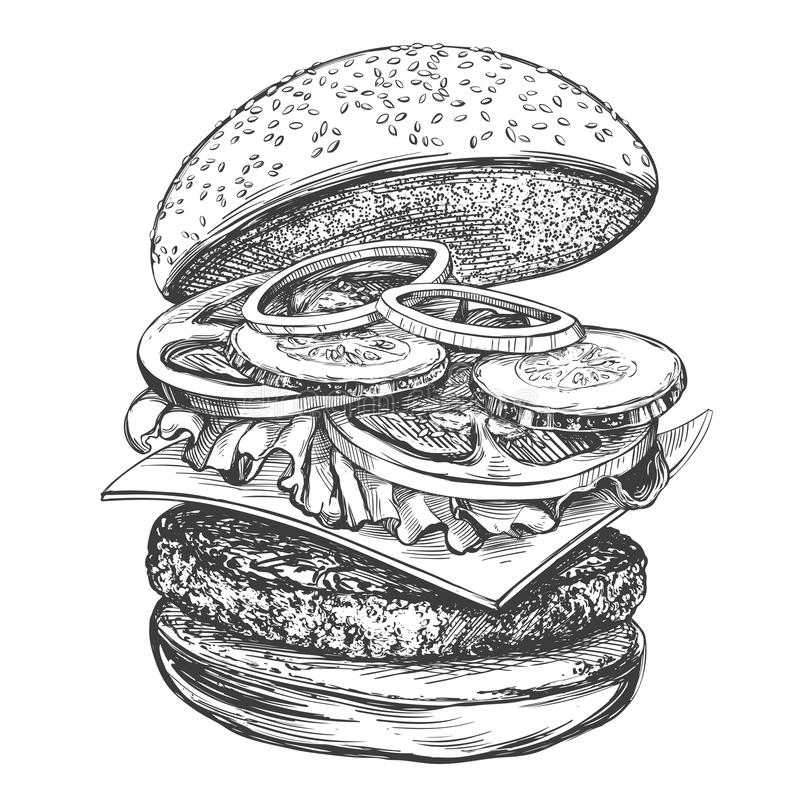 Grand hamburger, croquis r?aliste d'illustration tir?e par la main de vecteur d'hamburger illustration stock
