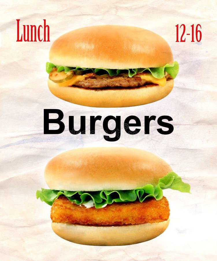 Grand hamburger savoureux de photos avec les poissons et le cheeseburger photographie stock libre de droits