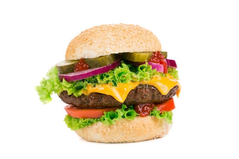 grand hamburger sur le fond blanc image stock image du pain cuisine 44024459. Black Bedroom Furniture Sets. Home Design Ideas