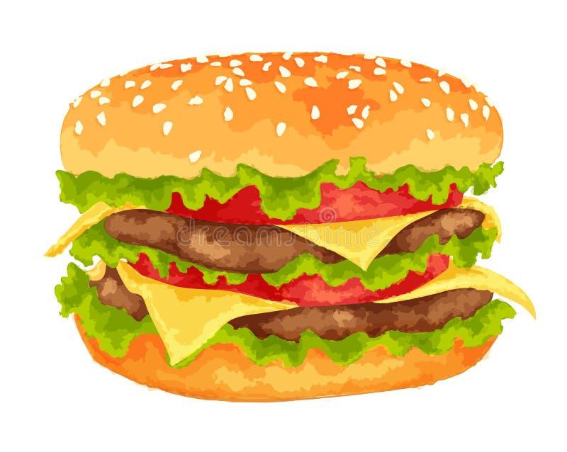 Grand hamburger sur le fond blanc illustration libre de droits