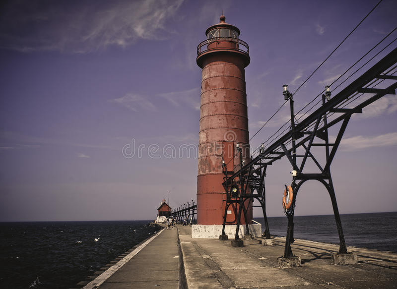 Grand Haven Light. The Grand Haven Light guards the entrance to Grand Haven, Michigan stock images