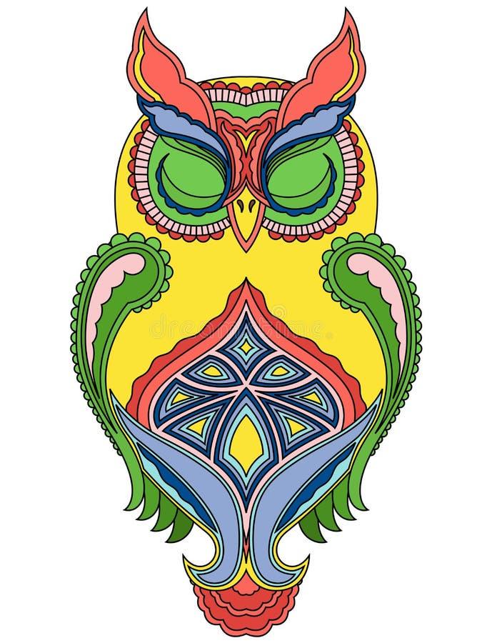 Grand hibou coloré avec les yeux étroits illustration de vecteur