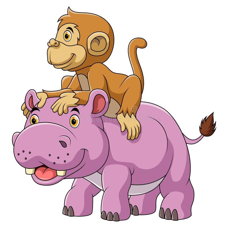 Grand hippopotame et singe mignon illustration de vecteur