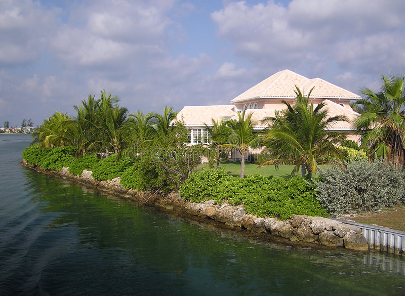 Grand Homes on Grand Cayman. Beautiful waterfront homes in Grand Cayman royalty free stock image