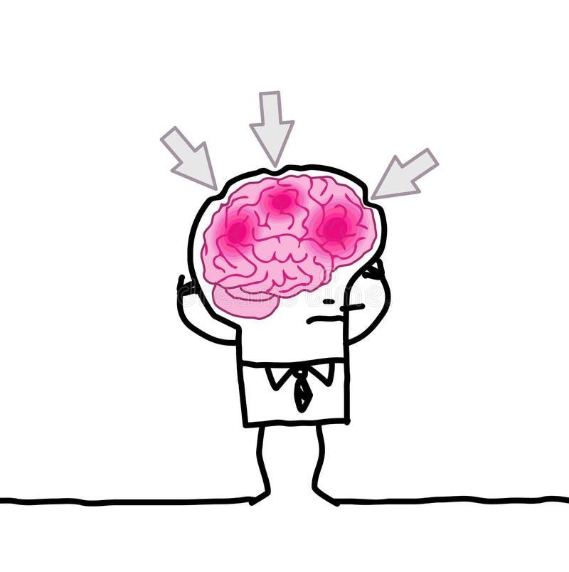 Grand homme et mal de tête de cerveau illustration stock