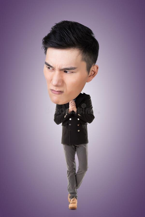 Grand homme principal asiatique drôle photos libres de droits