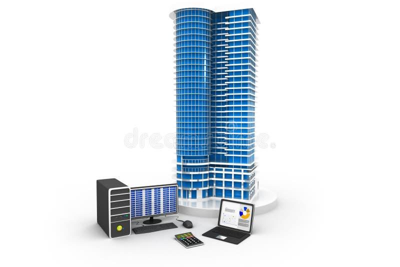 Grand horizon de bâtiment avec l'ordinateur illustration stock