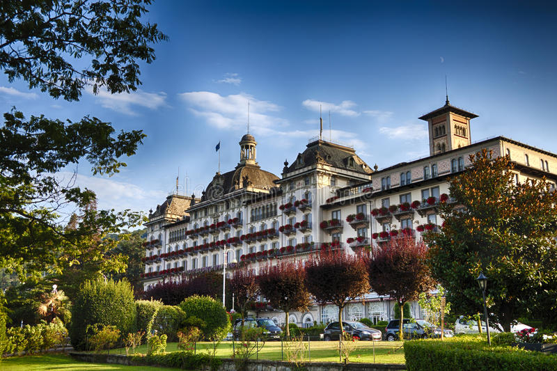 Grand Hotel. The Grand Hotel Des Iles Borromees, historic 5-star hotel and one of the most luxurious present in Stresa on Lake Maggiore, Italy stock image