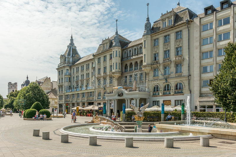 Grand Hotel Aranybika. DEBRECEN, HUNGARY - AUGUST 23, 2014: Grand Hotel Aranybika is a four-star hotel with its history dates back to the late 17th century but royalty free stock photography