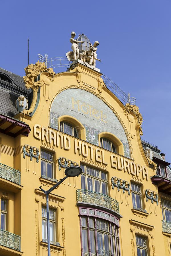 Grand Hotel Europa in Prague. Grand Hotel Europa is a famous art nouveau style hotel on Wenceslas Square in the center of Prague, Czech Republic royalty free stock photography