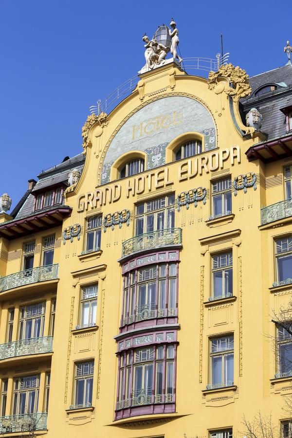 Grand Hotel Europa in Prague. Grand Hotel Europa is a famous art nouveau style hotel on Wenceslas Square in the center of Prague, Czech Republic stock photos